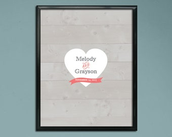 Wedding Guest Book Poster PDF - Rustic Heart - Personalized Printable