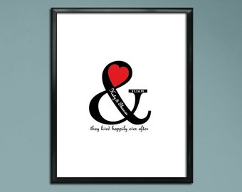 Wedding Guest Book Poster PDF - Happily Ever After / Ampersand and Heart - Personalized Printable