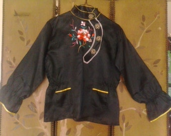 70s Asian / Chinese black embroidered blouse