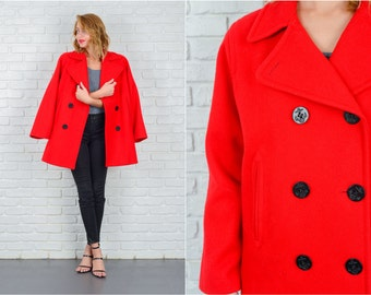 Vintage 80s Red Wool Peacoat Coat Jacket Sailor Nautical Anchor Buttons M L 5329