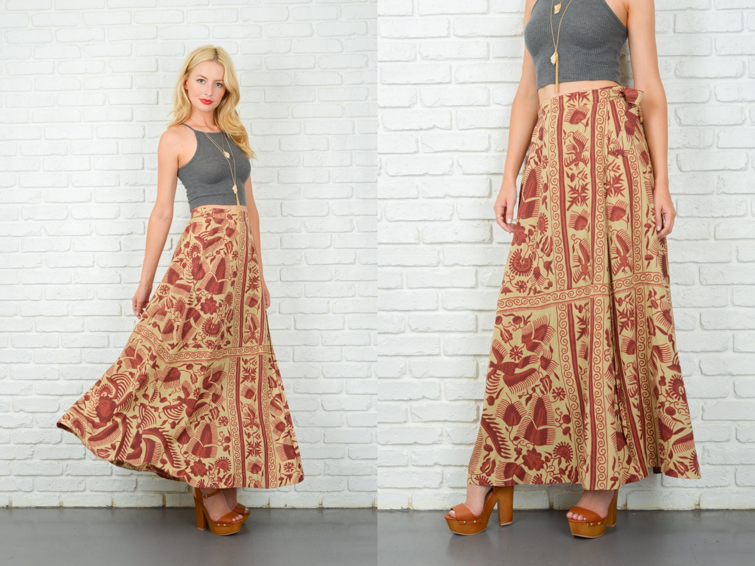 vintage 70s beige wrap skirt maxi ethnic by thekissingtree