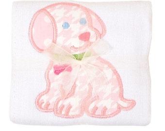 Pastel pink houndstooth puppy burp pad