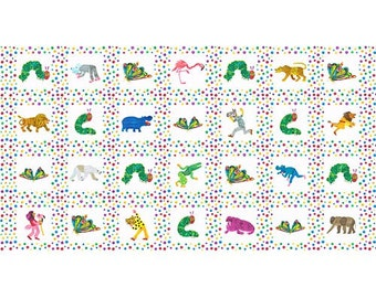 The Very Hungry Caterpillar Animals and Multi Dots Panel from Andover Fabrics
