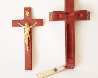 Vintage Cross Wooden Cross Jesus Crucifix Spiritual Cross Sick Call Cross Vintage Corpus Holy Water Candles Religious Icon