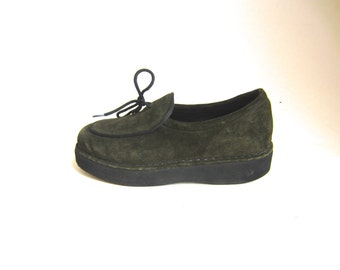 olive suede loafers / dkny shoes / platform loafers 7