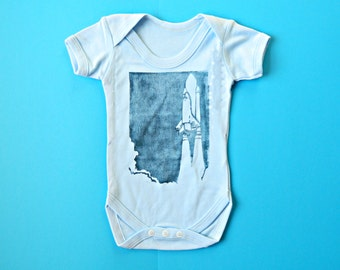 SALE Space Shuttle Bodysuit. 60% OFF Baby Boy Clothes. Blue Science Baby. Science baby Clothes. Shuttle Baby Vest. Nasa Shuttle Launch.