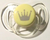 "Reborn Doll Magnetic Pacifier, Clear Yellow and Yellow ""Avent"" ~Crown~ With Magnets and Instructions 0-2 Month"