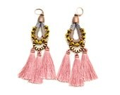 Pink Tassel Earrings, Large Chandelier Earrings, Old Rose Drop Earrings, Hippie Dangle Earrings, Earthy Tones Earrings, Tribal Earrings