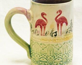 ceramic flamingo coffee mug 16oz  stoneware 16D048