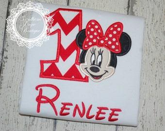 Minnie Mouse Birthday Applique Shirt - First Birthday - 2nd Birthday - Disney Shirt