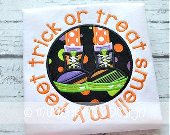 Trick or Treat Shirt - Halloween Applique Shirt - Girl's or Boy's Halloween Shirt - Holiday Designs - Monogrammed Shirt