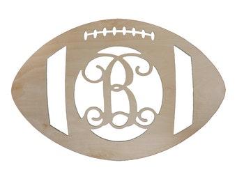 """Football Season Door Hanger - Custom Monogram Door Hanger - Unfinished- 18"""" Size"""