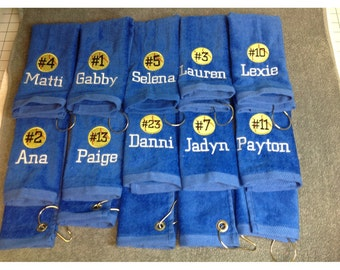 Personalized baseball or softball towel, pin towels, custom embroidery, school sports, team gift, coach gift, pin towels,