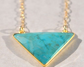 SALE Turquoise Necklace - December Birthstone Jewelry - Turquoise Jewelry - Long Gold Turquoise Necklace - Birthstone Necklace