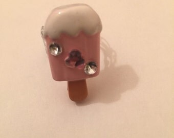 Ice cream bling adjustable ring