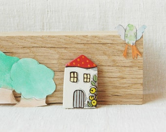 Little house brooch,wooden  house pin,cute whimsical brooch