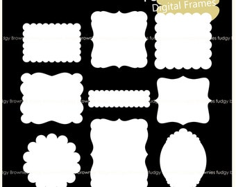 on sale scallop frame clipart white scallop frame frames clipart square frames a 234 label tag instant download