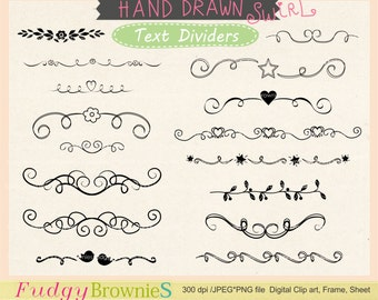 ON SALE Digital Handdrawn Text Divider, swirl, digital scrapbooking border. Text divider-01, Instant Download
