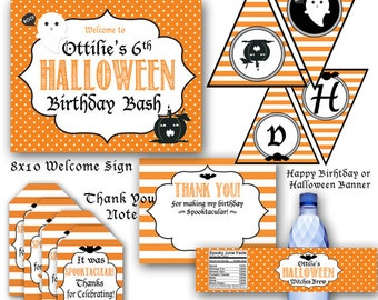 Halloween Printables Party Pack! Pumpkin Birthday Banner, Favor Tags, Party Sign and Thank you Notes! Halloween Birthday Party Pumpkin Party