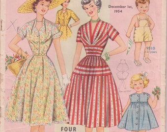 1950s AUSTRALIAN HOME JOURNAL December 1954 vintage magazine sewing knitting patterns paper dressmaking girls and womens dress patterns