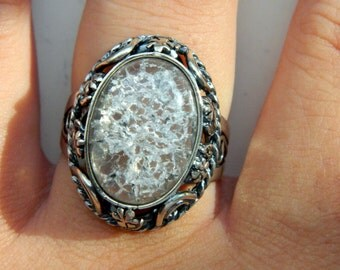 Vintage Sterling Silver Ring with a Large Mountain Crystal Size 10 1/2
