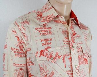 Vintage 1960's Men's H BAR C California CaRtOOn Wanted Poster NoVeLtY Western Yoked Shirt M L