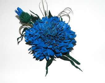 Leather cornflower,Big natural leather cornflower brooch! Blue brooch, Cornflower with bud and green leaves! For her, for mother..