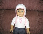 Ear Flap hat - White with Light Pink trim - for American Girl Dolls and other 18 Inch dolls Also fits Bitty Baby