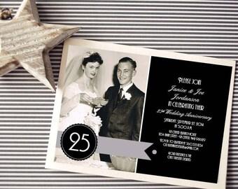 Personalized - 25th Wedding Anniversary Invitation - Silver and Black - Custom Printable