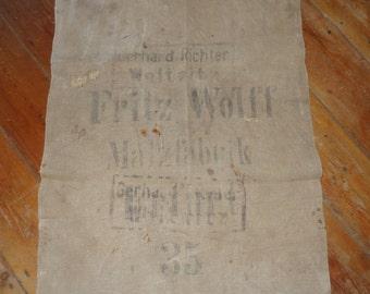 Antique german grain sack , linen, hand woven,Original printed on both sides