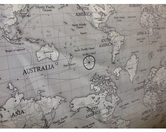 Fryetts map design 100% cotton fabric by the half metre