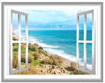 Beach Landscape View 3D Wall Mural Sticker Window Frame Scene Wall Art GJ07