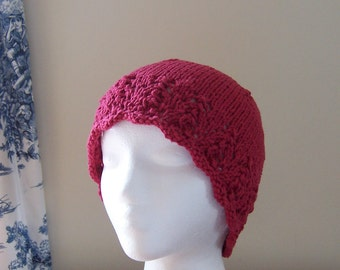 Chemo Hat Cotton Sleep Cap for Women, Knit in Country Red soft yarn with lace edge accent, ready to ship