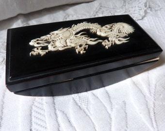 Antique wooden blotter lacquered ebony blotting paper ink desk blotter w bone inlay w dragon decor marquetry RARE 1900 oriental handmade art