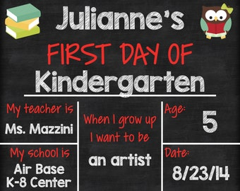"""Personalized First Day of School Announcement Sign Printable 8""""x10"""" - Chalkboard Girl"""
