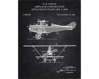 1921 Curtis airplane patent 1368549. Patent art print. Airplane art. Vintage plane art. P5010