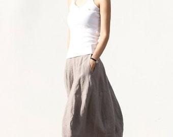 Romantic Bud Skirt Summer Skirt Linen Skirt in Grey - NC046