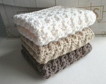 Bath set, Crochet washcloth, crochet dishcloth, neutral washcloth, neutral dishcloth, cotton washcloth, cotton dishcloth, handmade, luxury