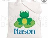 Frog Tote Bag - Personalized Tote Bag - Frog Treat Bag - Perfect for a Big Brother Kit - Frog Party Favor Bag - Preschool Bag - Daycare Bag