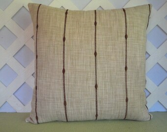 Stripe Pillow Cover in Beige and Brown / Beige Pillow / Striped Pillow / Decorative Pillow / Accent Pillow / 18 x 18 Pillow