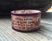 Strong Women Bracelet Cuff Etched Brass Butterfly Hand Stamped Quote