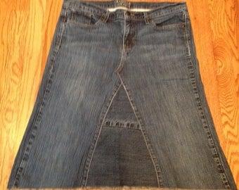 Ladies size 14, jean skirt, knee length denim skirt