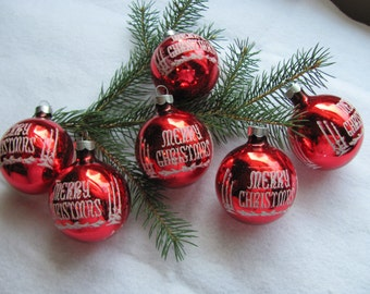 Stenciled Red Glass Ornament / 6 Flocked Christmas Ball Ornaments Made in USA