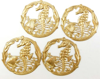 Brass Filigree, Brass Seahorse Stampings, Fish Stampings, Beach Jewelry, Raw Brass, US Made, Nickel Free, 51mm, Bsue Boutiques, Item04185