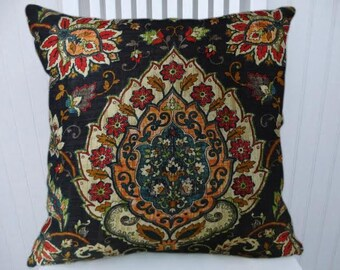 Black Red Orange Pillow Cover- Decorative Throw Pillow Cover Floral-18x18 or 20x20 or 22x22- Accent Pillow