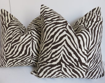 Zebra Pillow, Pillow Cover, Zebra Pillow 18x18, Animal Print Pillow, Brown Ivory Pillow, Ivory Pillow, Brown Pillow, Decorative Pillow