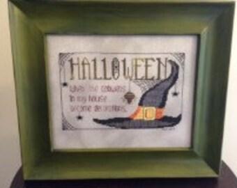 Halloween Crosstitch Framed Art Decor