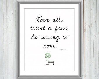 Shakespeare Quote Inspirational Motivational Print, Wall Art, Wall Decor, Love Quote, College Dorm Decor, Typography Print, 3 sizes