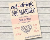 Eat Drink & Be Married Save the Date 5x7 Announcement, Etsy Finds