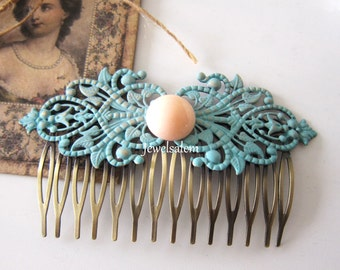 Hair Comb Turquoise Wedding Bridal Hair Slide Teal Blue Coral Peach Pink Salmon Patina Aged Look Modern Classic Victorian Romantic
